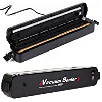 Vacuum Sealer Machine, Portable Compact Vacuum Sealing System for Vacuum and Seal/Seal, Dry/Wet Household Food Fresh Sealing Packing Machine with 15pcs Vacuum Bags, Black