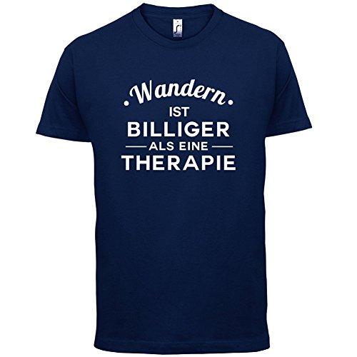 Wandern ist billiger als eine Therapie - Herren T-Shirt - 13 Farben Navy