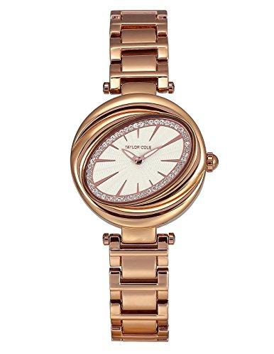 Taylor Cole Luxus Runde Kristall Blütenblatt Oval Dame Schlank Japan Quarz Movt Stahl Band Armband Uhr Frauen Uhr TC097 (- Quarz Movt-uhr)