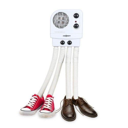 oneConcept Choobidoo asciuga scarpe (asciuga/scalda scarpe, scarpe da ginnastica, scarponi sci, 2 paia, 350W, timer, montaggio a parete, antiodore, antibatterico) - bianco