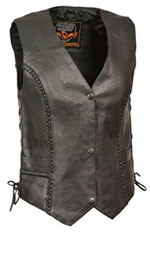 Preisvergleich Produktbild Milwaukee Women's Braided Side Lace Leather Vest (Black,  Large)