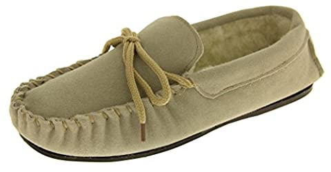 Mens Lodgemok SUEDE LEATHER Moccasins REAL WOOL Comfort Shoe Slippers Size 7-12