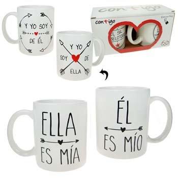"""""""Pinkmarket 55505 - Set 2 tazas cerámica Mug desayuno y café. MUG Cup para leche, agua, zumo de frutas. Modelo """"""""mio/mia"""""""""""""""