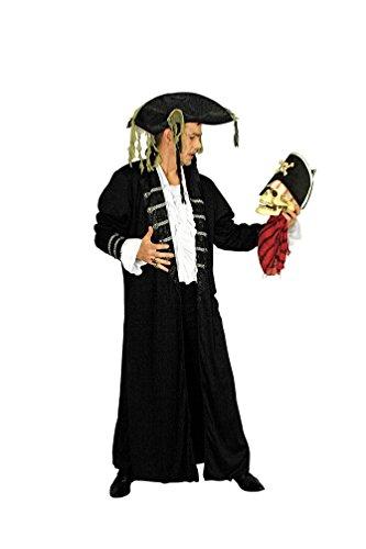 Karneval-Klamotten Piraten-Kostüm Herren Kostüm Pirat Kapitän schwarz-Gold Piraten-Mantel Abenteuer Herrenkostüm Größe 54/56