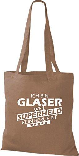 Shirtstown Stoffbeutel Ich bin Glaser, weil Superheld kein Beruf ist hellbraun