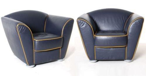 Leder-Sessel, 2er-Set, schwarz, gelbe Kontrastnaht, gebrauchte Büromöbel