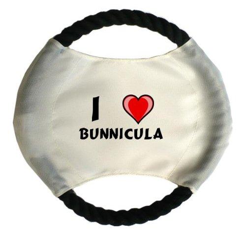 Personalisierter Hundefrisbee mit Aufschrift Ich liebe Bunnicula (Vorname/Zuname/Spitzname)
