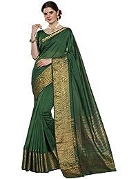 Pisara Women Chanderi Silk Saree With Blouse Piece, Green Sari
