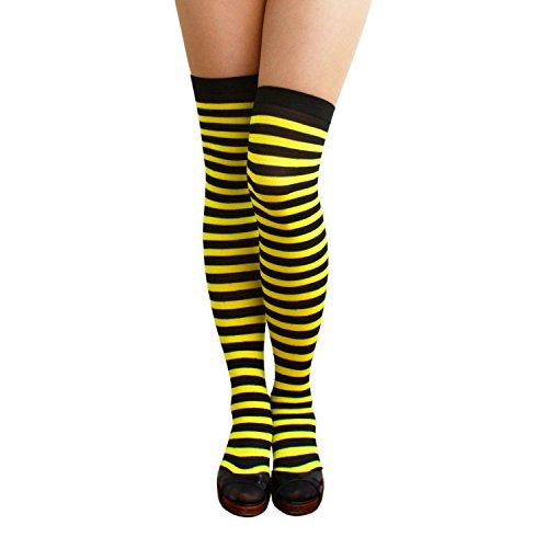 Oblique Unique® Sexy Strumpfhose -halterlos- Overknee Strümpfe - Party Kostüm Fasching Karneval (Overknee Ringel schwarz/gelb)