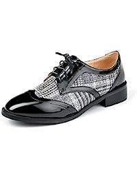 f7efaafe6 Nincyee Cuero Zapatos de Cordones Derby para Mujer Vintage College Brogues  Hecho a Mano