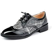 Nincyee Cuero Zapatos de Cordones Derby para Mujer Vintage College Brogues Hecho a Mano