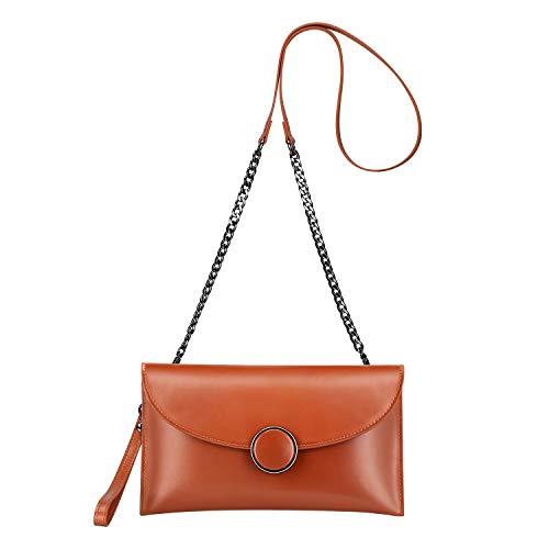 DMIZ Damen Leder Clutch Bag Umschlag Handtasche Crossbody Umhängetasche mit langem, verstellbarem Tragegurt (Farbe : Brown) (Sie Zu Wie Uhren Sammeln,)