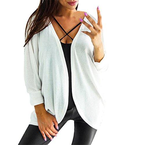 Yuan Damen Strickjacke Long Cardigan Knt Noos Warm Outwear Clothes Autumn Winter (XL, Weiß) (Schickes Kleid Für Große Hunde)