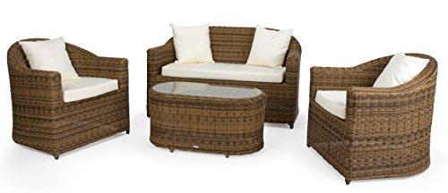 4 Teilig Venedig Deluxe Polyrattan Gartenmöbel Set, Sofa/Lounge /  Gartengarnitur/Kissenbezug