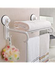 SEAHAVEN Towel Stand with 5 Crossbars, 2 Hooks Hanger Rack with Magic Suction Cup Suitable for Modern Bathroom and Kitchen (White, Medium)