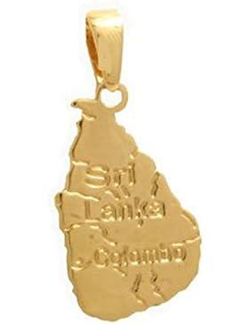 Anhänger Karte Länder Sri Lanka–vergoldet + Gratis goldfarbener Kette