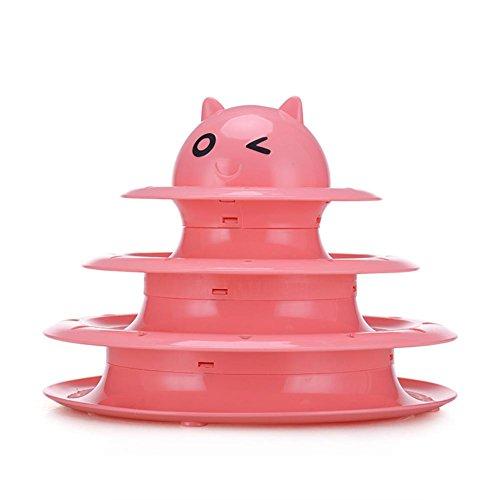 chengstore Drei Schichten Katze Pet Toys Intelligenz Crazy Play Play herausnehmbaren Katze Plattenspieler Disc Funny Cat Pet Ball Spielzeug, rosa
