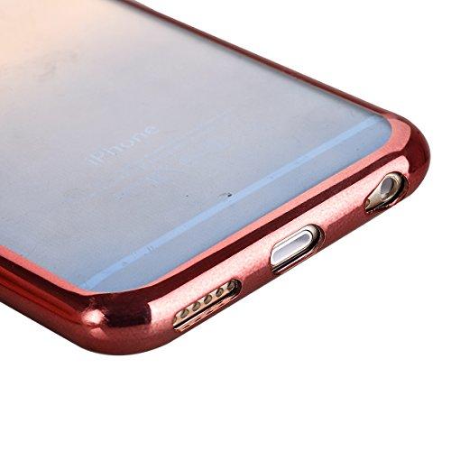 Ukayfe iPhone 6/6S plus 5.5 Copertura, Moda Confine di Placcatura Design di Bling Custodia Bumper Ultra Slim Morbido Soft TPU Gel Silicone Elegante Trasparente Flessibile Antiurto Cassa Protettivo Ski rosa&blu
