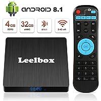 Android 8.1 TV box, Leelbox 2019 Newest Q4s 4 GB RAM 32 GB ROM RK3328 Quad Core 64 bit Smart TV Box, Support 4K Full HD 3D H.265 Wi-Fi 2.4GHz BT 4.1 USB 3.0 with Wireless Remote Control