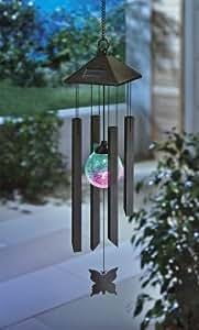 Solar-Windspiel mit Farbwechsler und Schmetterlind Solar
