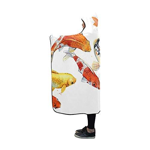 Plsdx Mit Kapuze Decke Koi Karpfen Fisch Decke 60 x 50 Zoll Comfotable Hooded Throw Wrap -