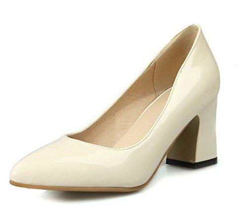 AgooLar Femme Verni Couleur Unie Tire Pointu à Talon Correct Chaussures Légeres Beige