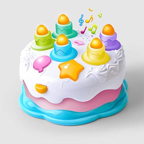 GizmoVine Torte Spielküche Zubehör mit Kerze und Musik Baby Spielzeug Kinderspielzeug 2 Jahr für Jungen und Mädchen Babys