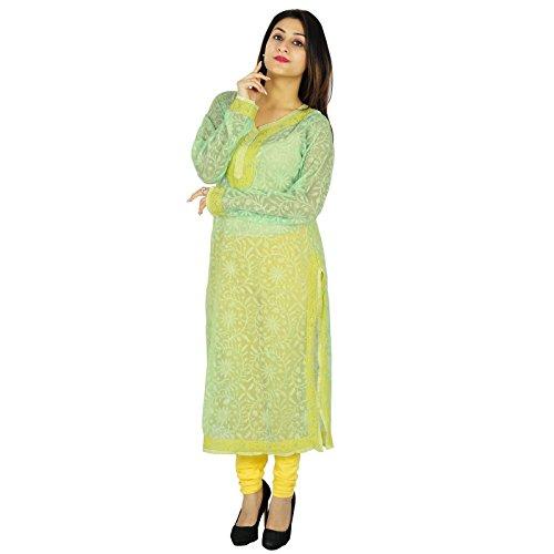Indian Ethnic Kurti Baumwolle Designer Chikan gestickten Frauen Lässige Tunika-Kleid-Geschenk für sie Sea Green und Yellow-1