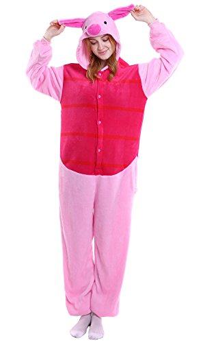 Kostüm Ferkel Halloween - Dolamen Erwachsene Unisex Jumpsuits, Kostüm Tier Onesie Nachthemd Schlafanzug Kapuzenpullover Nachtwäsche Cosplay Kigurum Fastnachtskostuem Xmas Halloween (Medium (61