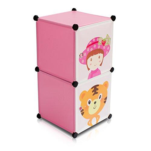 Kinderzimmer Steckschrank - Set aus 2 Modulen, Rosa - DIY Steckregal System Regalschrank - Grinscard