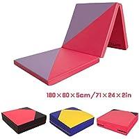 CCLIFE Colchoneta Plegable de Gimnasia y Colchoneta Yoga Colchoneta Deportiva Yoga estrilla 3 Pliegues 180/60/5cm, Color:Rojo & Purpura