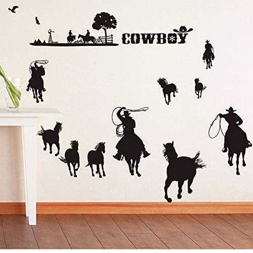 Waofe Cowboys Wandtattoo Removable Vinyl Wandaufkleber Cowboys Set Wand Kunst Wandbild New Design Western Cowboys Stil Wallpaper 8Cm (Western Set Decke)