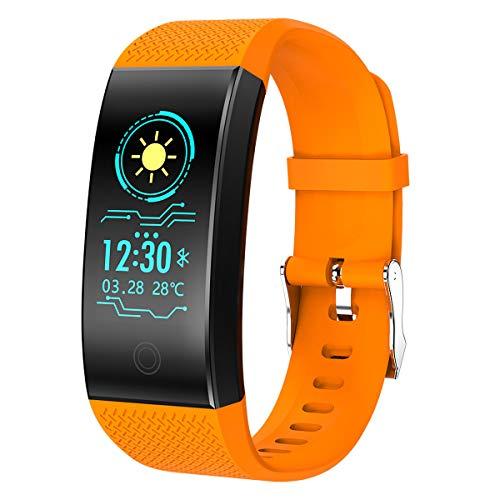 cuwmoc® - fitness tracker hr, impermeabile, schermo a colori, con cardiofrequenzimetro, pressione sanguigna, contapassi e contacalorie, qw18, orange
