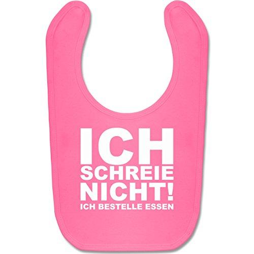 Sprüche Baby - Ich schreie nicht, ich bestelle Essen! - Unisize - Pink - BZ12 - Baby Lätzchen Baumwolle