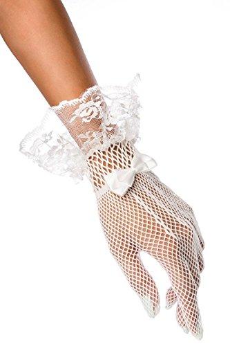 Weiße Spitzenhandschuhe kurz mit Motiv transparent elegante Handstulpen Netzhandschuhe mit Satin Schleife