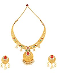 Dancing Girl Kundans Wedding Maroon Green Metal Alloy Jewellery Set With Necklace And Earring For Women