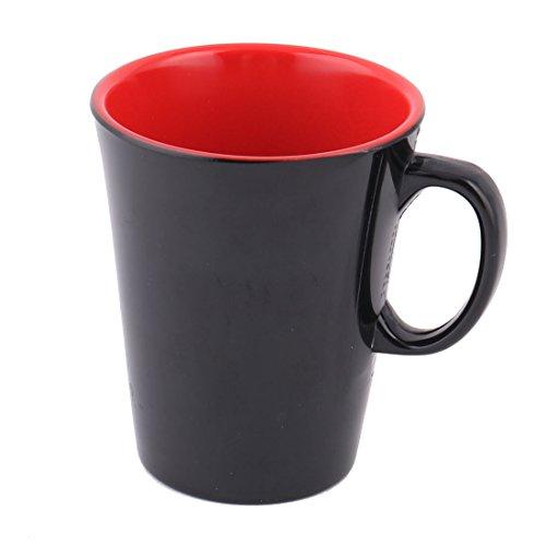 sourcingmap® Haushalt Cafe Melamin Zylinder Tee Wasser trinken Lagerung Tasse schwarz rot de (Rote Tassen Trinken)