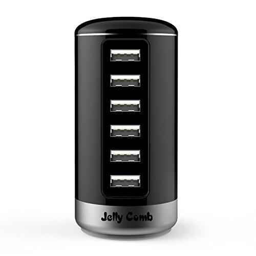 Jelly Comb Caricabatterie USB da Muro Viaggio 30W / 6A con 6 Porte USB, Intelligente identificazione, Nero