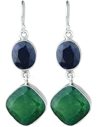 925 Sterling Silver Emerald & Blue Sapphire Gemstone Earrings Jewelry 10.72g ci fashion stylish & classy ring design for girls and women by CrystalCraftIndia