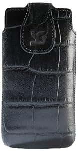 Suncase Original Echt Ledertasche für Samsung Galaxy S4 i9500 (i9505 LTE Version) croco-schwarz