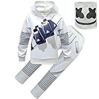Kids DJ Marshmello Funny Halloween Cosplay Costumes Electronic Dance Music Hoodies Jumper Clothse Sets (style4, 160(11-12years))