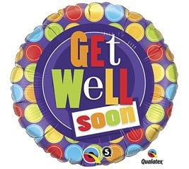 Get Well Dot Patterns, 18 inch Round Balloon - Foil