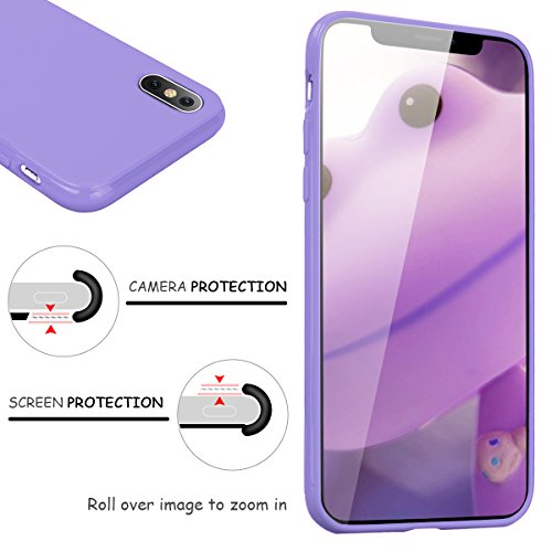 GrandEver Coque iPhone X / iPhone 10 en Silicone Gel Souple Design Flexible Peinture Couleur Unie TPU Ultra Fine Slim One Piece Resistante Antichoc Soft Etui avec Design Housse Case Cover pour iPhone  Violet 01