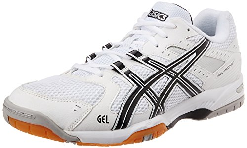 Asics Men's Gel rocket White and Black Silver Mesh Tennis Shoes - 11 UK