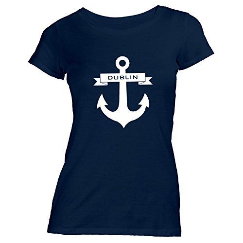 Damen T-Shirt - Anker Band Dublin - Maritim Segeln Navy