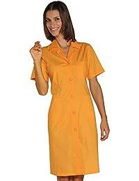 Isacco-Bata de Trabajo para Mujer, Color Negro y Naranja