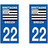 Autocollant plaque immatriculation pour Auto Bretagne département - Bretagne / 29 Finistère