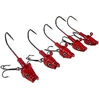 cwfishing Cabezales de pesca Jig 5 piezas 20 g 7/10 oz ganchos de pesca de cabeza roja 3D ojo con agudos ganchos pesca Jig cabezas