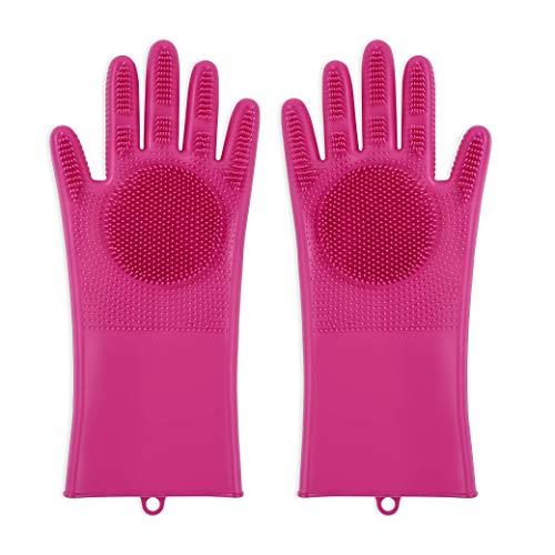 Silikon Handschuhe Magie Haushalt Geschirrspülhandschuhe mit Wash Scrubber Hitzebeständige Wiederverwendbar Spülhandschuhe Reinigungsbürste für Küche, Bad, Das Auto Waschen, Tierpflege(Rose rot) (Rot Geschirrspülmittel Handschuhe)