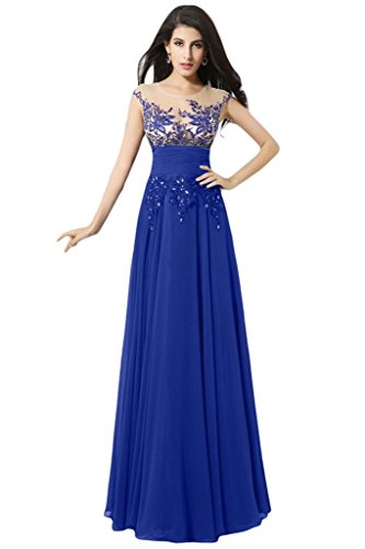 Sunvary elegante Chiffon Sheer Simplicity A-line di Tulle, tacco basso, con cinghie, colore: blu Royal Gowns Royal Blue